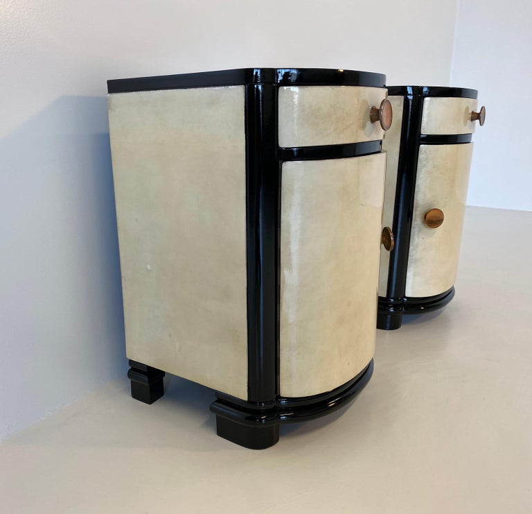 Mid-20th Century Italian Art Deco Parchment Nightstands, 1930s
