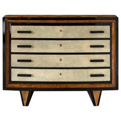 Italian Art Deco Parchment, Walnut and Black Chest of Drawers, 1930s