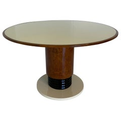 Italian Art Deco Pedestal Table with Ivory Glass Top, 1930s