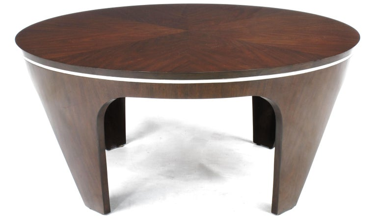 Late 20th Century Italian Art Deco Revival Round Mahogany Coffee Table with Parquetry Top For Sale