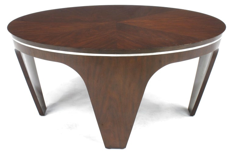 Glass Italian Art Deco Revival Round Mahogany Coffee Table with Parquetry Top For Sale