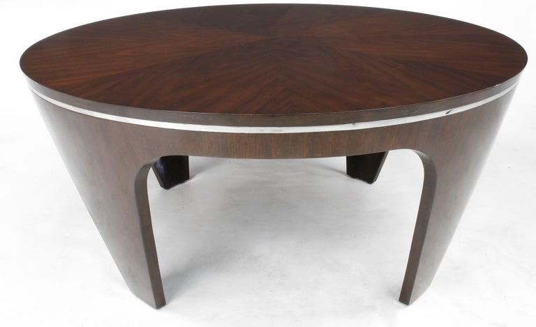 Italian Art Deco Revival Round Mahogany Coffee Table with Parquetry Top For Sale 2