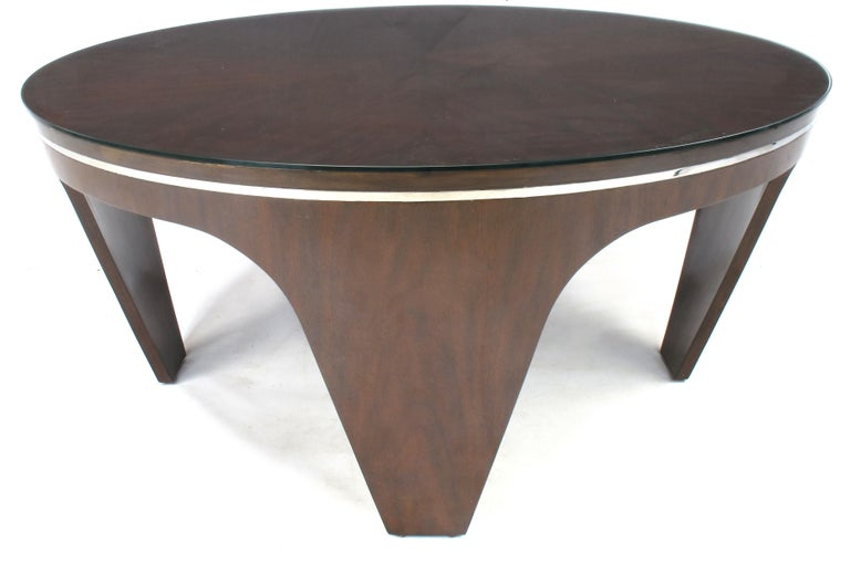 Italian Art Deco Revival Round Mahogany Coffee Table with Parquetry Top For Sale 4