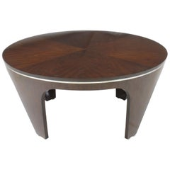 Italian Art Deco Revival Round Mahogany Coffee Table with Parquetry Top