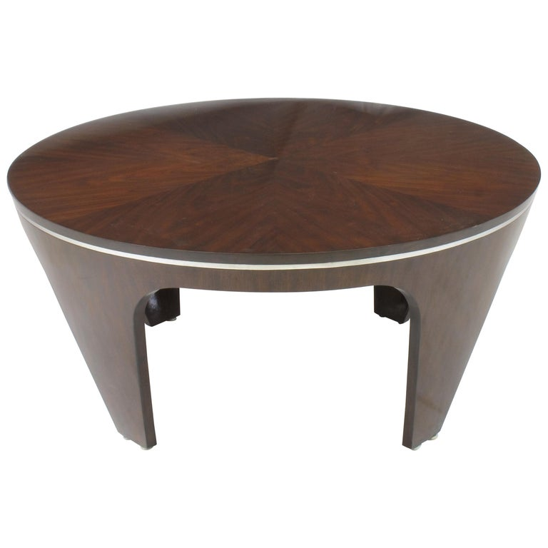 Italian Art Deco Revival Round Mahogany Coffee Table with Parquetry Top For Sale