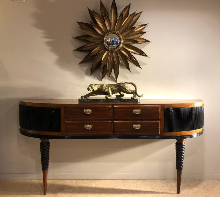 20th Century Italian Art Deco Rosewood Console Table Credenza with Black and Brass Details For Sale