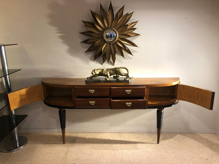 Italian Art Deco Rosewood Console Table Credenza with Black and Brass Details For Sale 2