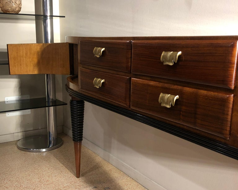 Italian Art Deco Rosewood Console Table Credenza with Black and Brass Details For Sale 5