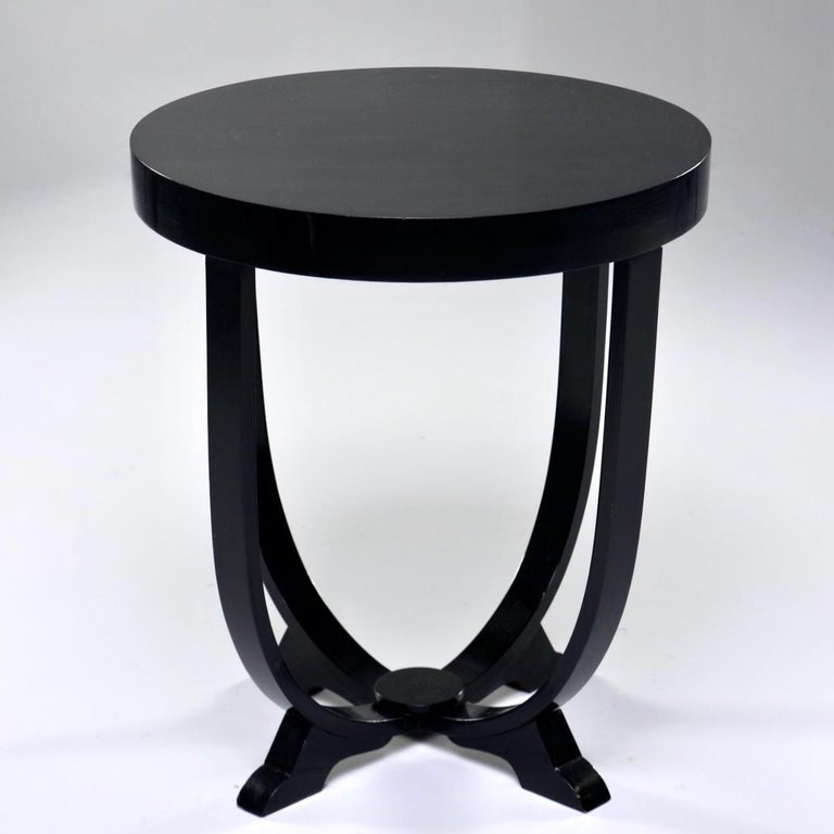 Ebonized Italian Art Deco Round Table For Sale