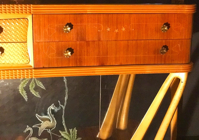 Italian Art Deco Sideboard Console Table with Mirror Attributed to Borsani, 1940 For Sale 5