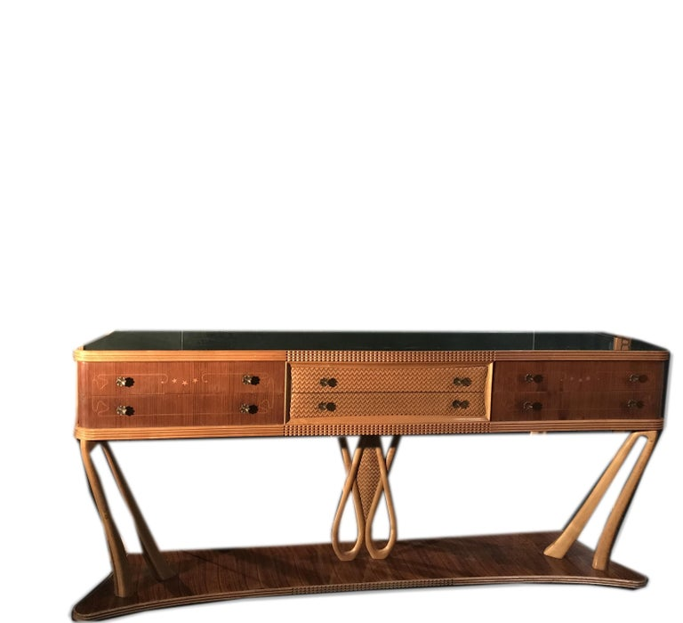 Italian Art Deco Sideboard Console Table with Mirror Attributed to Borsani, 1940 For Sale 7