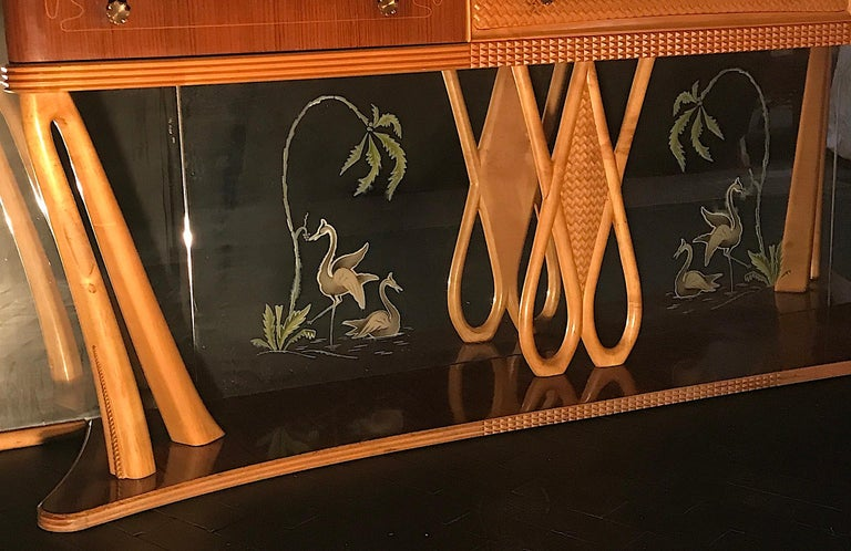 Italian Art Deco Sideboard Console Table with Mirror Attributed to Borsani, 1940 For Sale 8