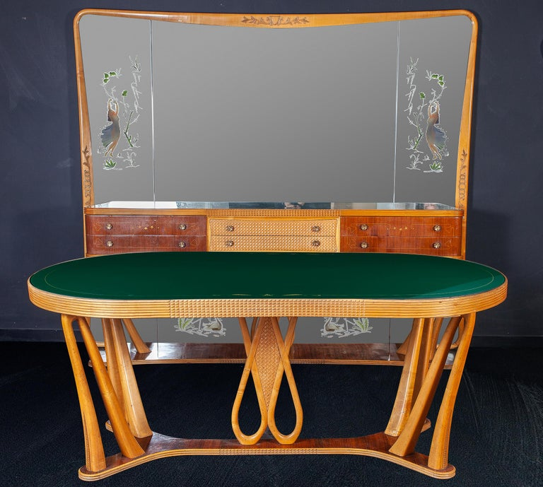 Italian Art Deco Sideboard Console Table with Mirror Attributed to Borsani, 1940 For Sale 9
