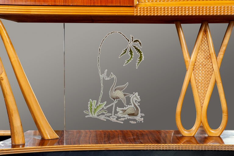 Italian Art Deco Sideboard Console Table with Mirror Attributed to Borsani, 1940 For Sale 3