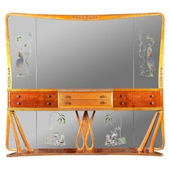 Italian Art Deco Sideboard Console Table with Mirror Attributed to Borsani, 1940