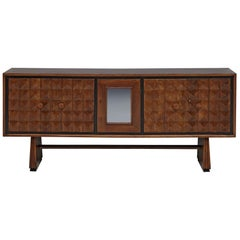 Italian Art Deco Sideboard with Diamond-Shaped Doors in Oak