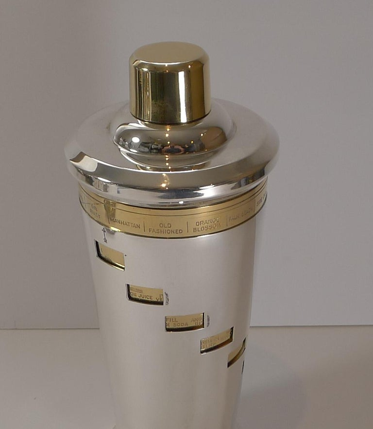 A fabulous vintage Italian recipe cocktail shaker having been professionally restored to it's former glory by our silversmith.  The arrow on the outer sleeve is pointed to the desired cocktail and the ingredients are revealed in each of the