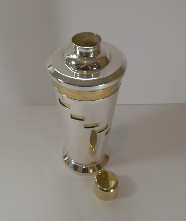20th Century Italian Art Deco Silver and Gold Plated Menu / Recipe Cocktail Shaker For Sale