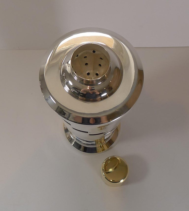 Silver Plate Italian Art Deco Silver and Gold Plated Menu / Recipe Cocktail Shaker For Sale