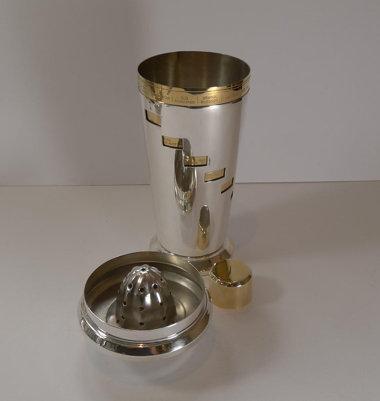 Italian Art Deco Silver and Gold Plated Menu / Recipe Cocktail Shaker For Sale 2