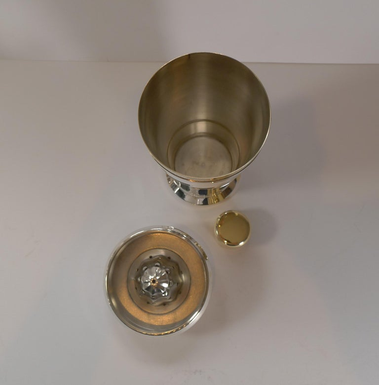 Italian Art Deco Silver and Gold Plated Menu / Recipe Cocktail Shaker For Sale 3