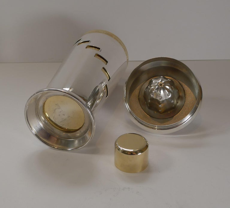 Italian Art Deco Silver and Gold Plated Menu / Recipe Cocktail Shaker For Sale 4