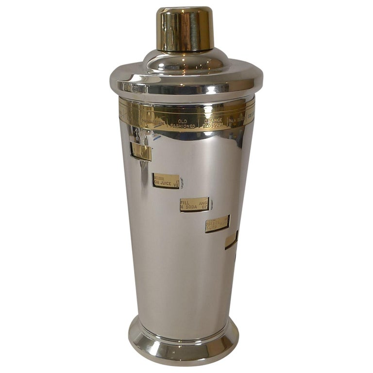 Italian Art Deco Silver and Gold Plated Menu / Recipe Cocktail Shaker For Sale