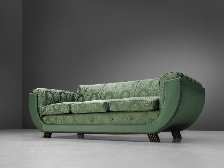 Three seat sofa, floral patterned green upholstery, Italy, 1940s