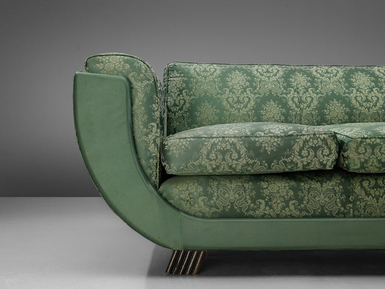 Mid-20th Century Italian Art Deco Sofa in Floral Patterned Upholstery For Sale