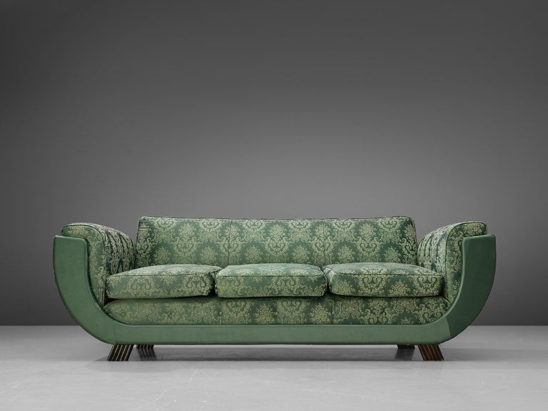 Fabric Italian Art Deco Sofa in Floral Patterned Upholstery For Sale