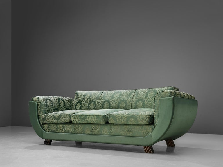 Italian Art Deco Sofa in Floral Patterned Upholstery For Sale 3
