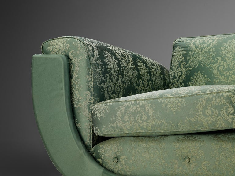 Italian Art Deco Sofa in Floral Patterned Upholstery For Sale 4