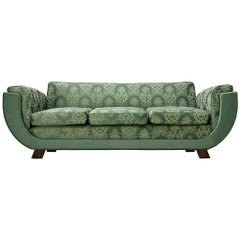 Italian Art Deco Sofa in Floral Patterned Upholstery