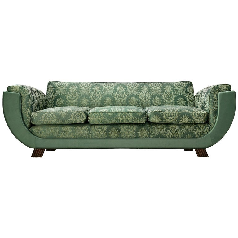 Italian Art Deco Sofa in Floral Patterned Upholstery For Sale