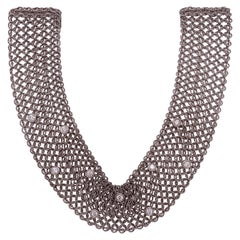 Estate Art Deco Style 18 Karat White Gold and Diamond Mesh Necklace