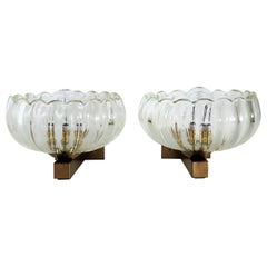 Italian Art Deco Style Brass and Murano Glass Wall Lights or Sconces, 1970s