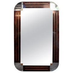 Italian Art Deco Style Burled Wood and Bronze Mirror