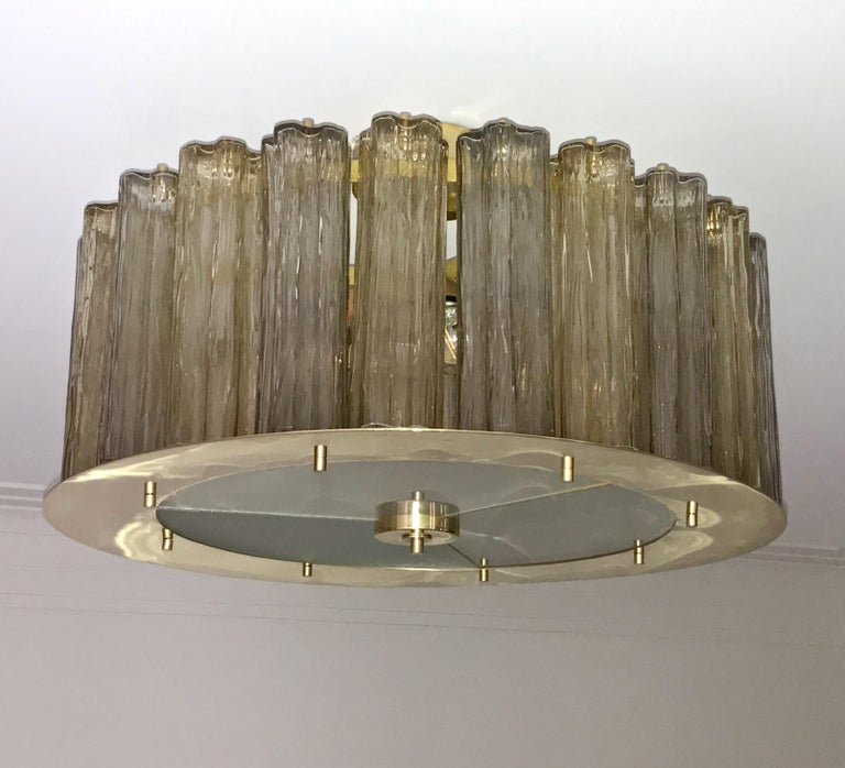 Italian Art Deco Style Crystal & Smoked Murano Glass Round Flush Mount on Brass For Sale 3