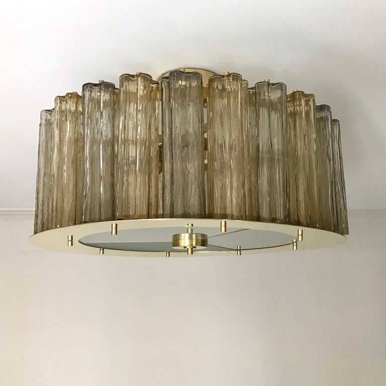 Italian Art Deco Style Crystal & Smoked Murano Glass Round Flush Mount on Brass For Sale 4