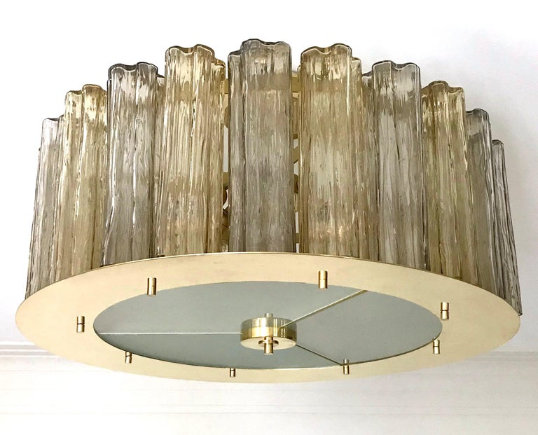 Italian Art Deco Style Crystal & Smoked Murano Glass Round Flush Mount on Brass For Sale 5