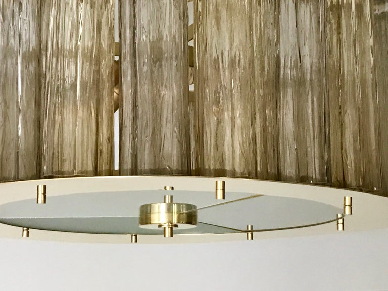 Frosted Italian Art Deco Style Crystal & Smoked Murano Glass Round Flush Mount on Brass For Sale