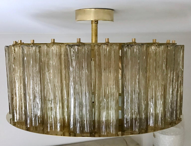 Italian Art Deco Style Crystal & Smoked Murano Glass Round Flush Mount on Brass In New Condition For Sale In New York, NY