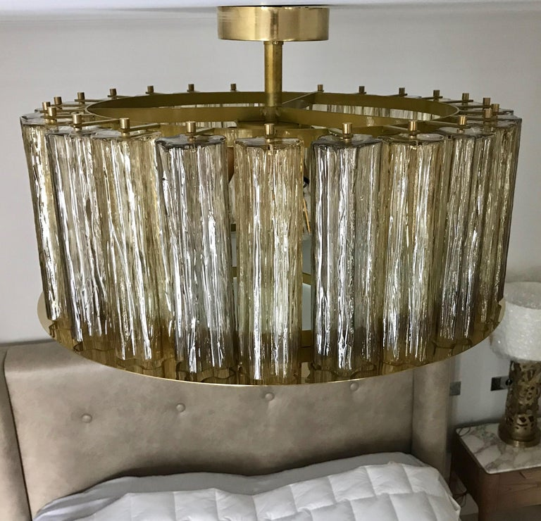 Art Glass Italian Art Deco Style Crystal & Smoked Murano Glass Round Flush Mount on Brass For Sale