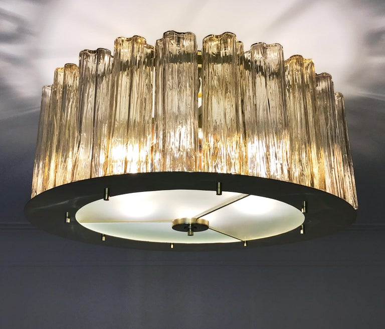 Italian Art Deco Style Crystal & Smoked Murano Glass Round Flush Mount on Brass For Sale 2