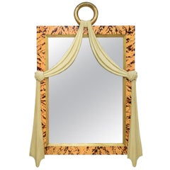 Italian Art Deco Style Faux Tortoise Shell Carved Wood Mirror