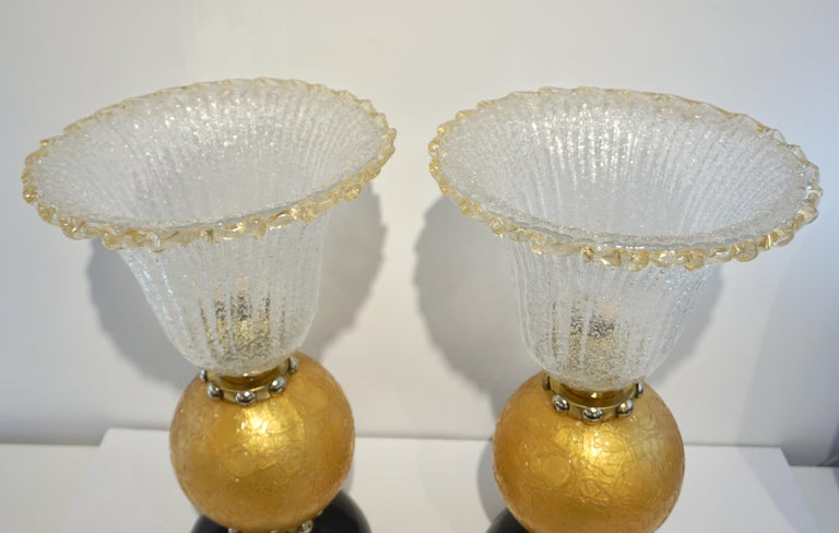 Italian Art Deco Style Gold Black Lamps with Barovier Crystal Murano Glass Shade For Sale 5