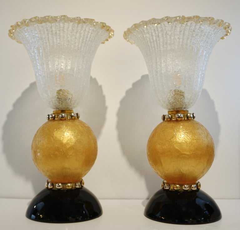 Italian Art Deco Style Gold Black Lamps with Barovier Crystal Murano Glass Shade For Sale 6