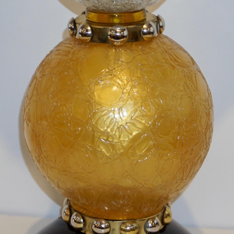 Hand-Crafted Italian Art Deco Style Gold Black Lamps with Barovier Crystal Murano Glass Shade For Sale