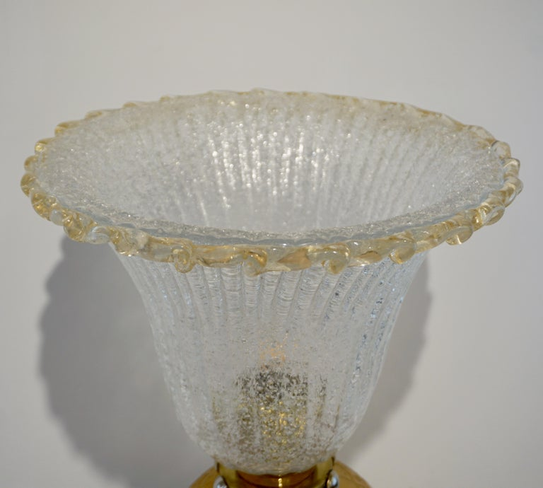 Late 20th Century Italian Art Deco Style Gold Black Lamps with Barovier Crystal Murano Glass Shade For Sale