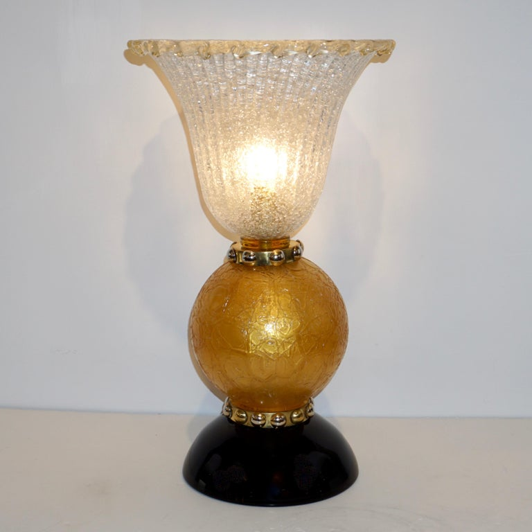 Italian Art Deco Style Gold Black Lamps with Barovier Crystal Murano Glass Shade For Sale 2